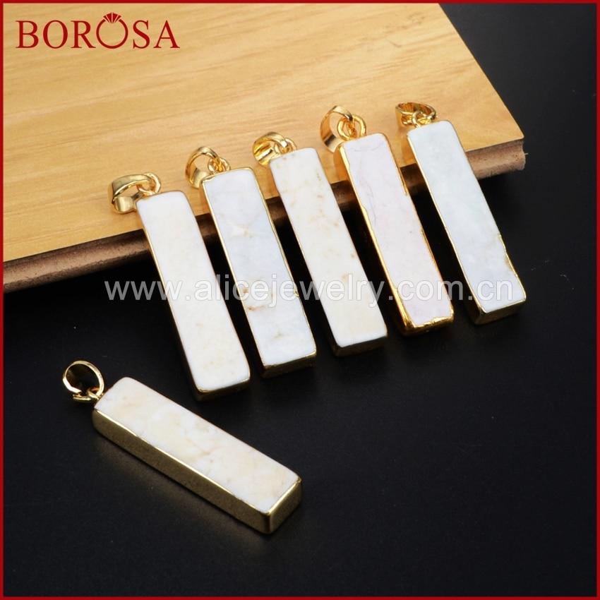 Borosa Прямоугольник Золото Цвет белый как-Lite камень агат кулон Бусины для Для женщин, мода Druzy howlite подвеска Druzy ювелирные изделия g1203
