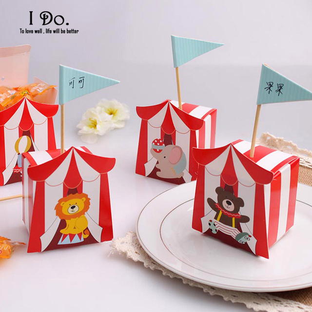 Free Shipping 10pcs Happy Zoo Birthday Party Decorations Kids Favor Boxes Candy Box Baby Shower Decoration