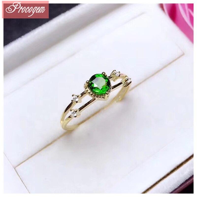 Bagues Diopside naturelles pour femmes rondes 5mm véritable pierre précieuse nouveau bijoux fins cadeau 925 argent Sterling 18 K plaqué or blanc #132