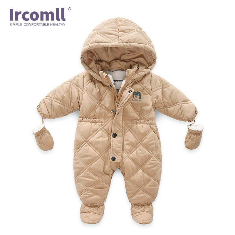 Ircomll Thick Warm Infant Baby Jumpsuit Hooded Inside Fleece Boy Girl Winter Autumn Overalls Children Outerwear Kids Snowsuit baby down hooded jackets for newborns girl boy snowsuit warm overalls outerwear infant kids winter rompers clothing jumpsuit set