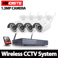 HKIXDISTE 1TB HDD 4CH CCTV System Wireless 960P Powerful Wireless NVR WIFI IP Camera CCTV Home