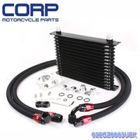 Universal 15 Row JDM Engine Oil Cooler Kit +Remote Oil Filter+AN10 Oil Lines Kit