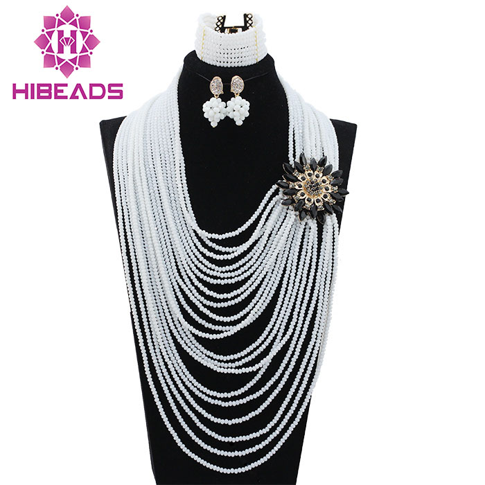 20 Layers White African Beads Jewelry Set Fashion Black Brooch Costume Necklace Set Party Jewelry Set Free Shipping WD320