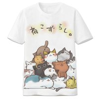 Japan Game Neko Atsume T Shirt Cute Cat T shirts Men Women Short Sleeve Tops Casual Fun Summer Tees