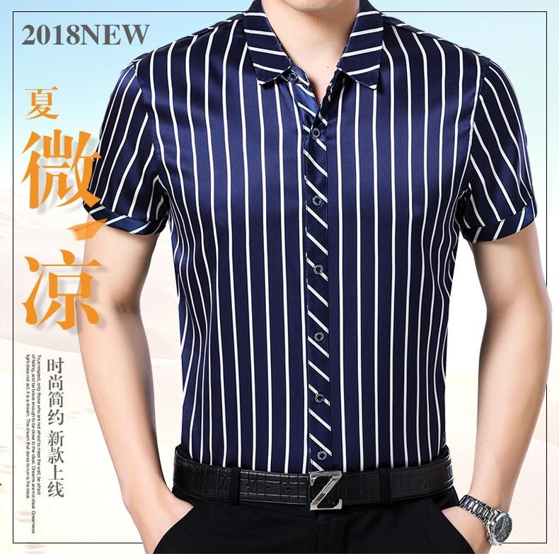 New Summer Wear 95% natural Silk Shirt, Men's Short Sleeved Striped, Half Sleeved, Loose Silk Shirt.