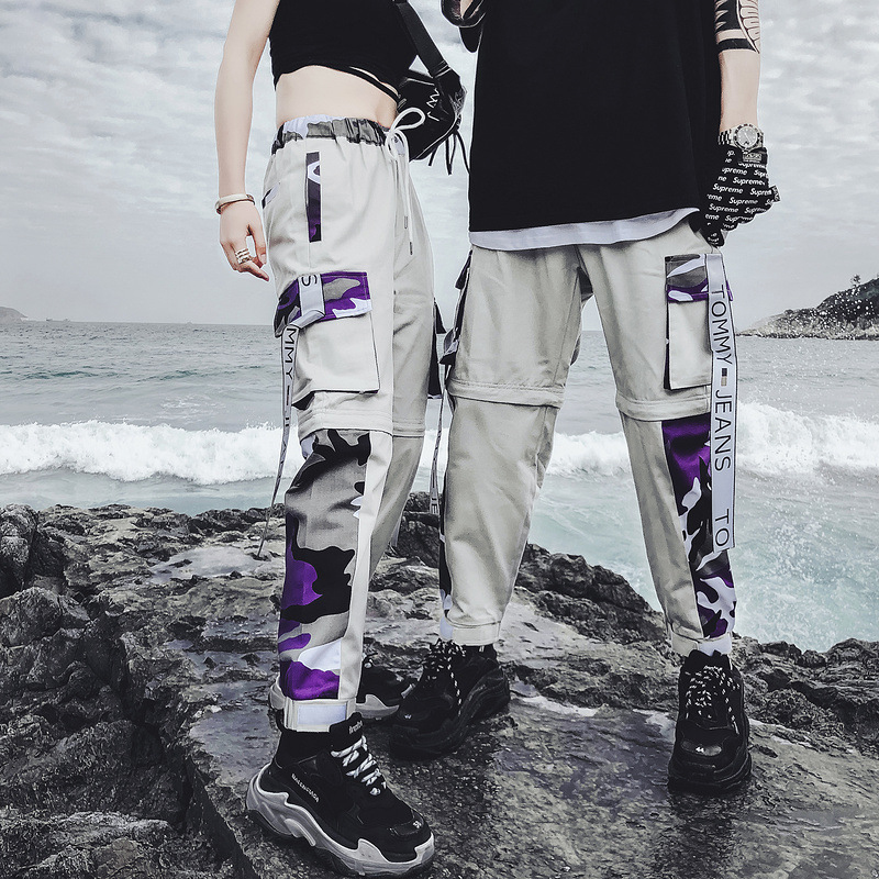 Streetwear Detachable Pants Men Women Pants Camou Male Joggers Harajuku Sweatpant Hip Hop Cargo Trousers Couple Xd233