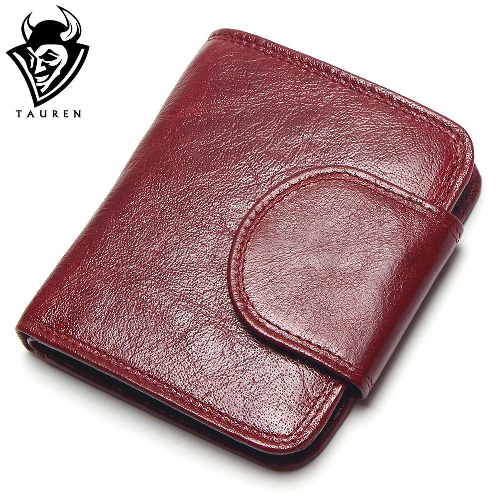 TAUREN Women Wine Red Wallets 100% Genuine Leather Purses Oil Cow Leather Hasp Short Retro Designer Small For Ladies Female tauren 100