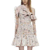 Self Portrait Dress 2018 Women Spring Summer Elegant Long Sleeve Ruffles Mesh Embroidery Short Party Dresses Vestidos