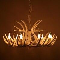 Antlers American Village Dining Room Bar Chandelier RETRO Art Bar Creative Personality White Antler Pendant Lamp