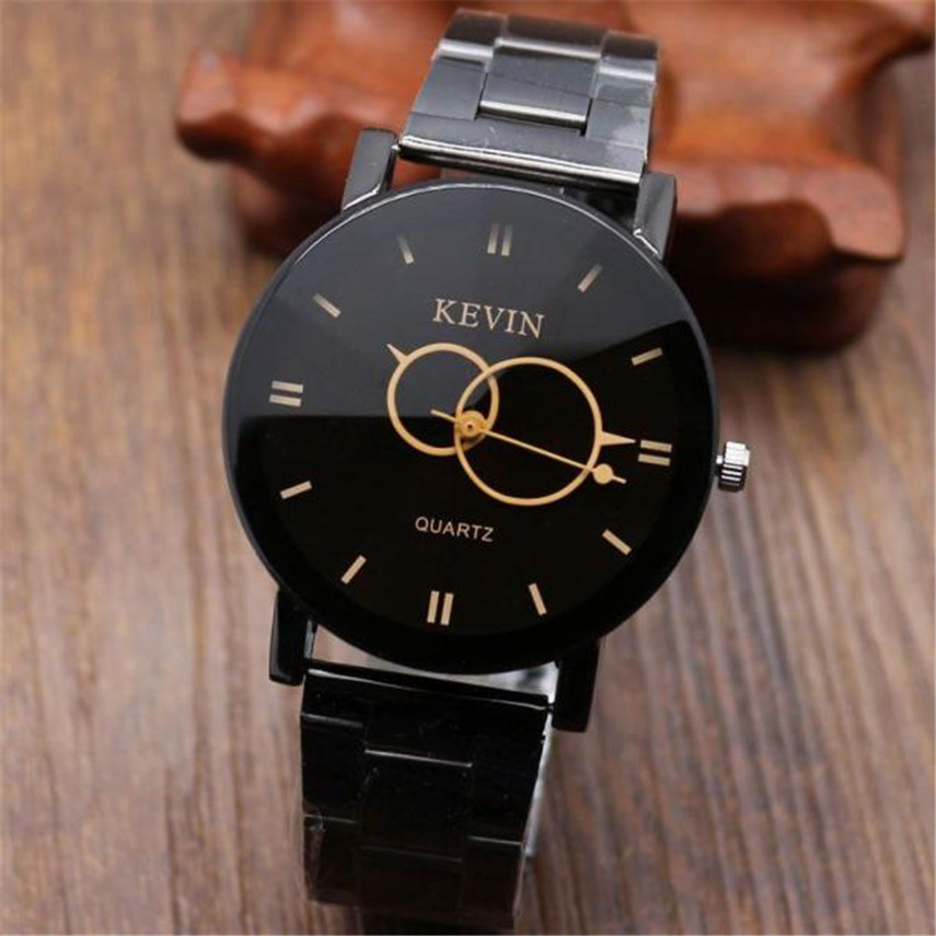 Hot sale 2017 Relogio Masculine Fashion dress Design Black Stainless Steel Band Round Dial Quartz Wrist Watch Men Gifts #0815