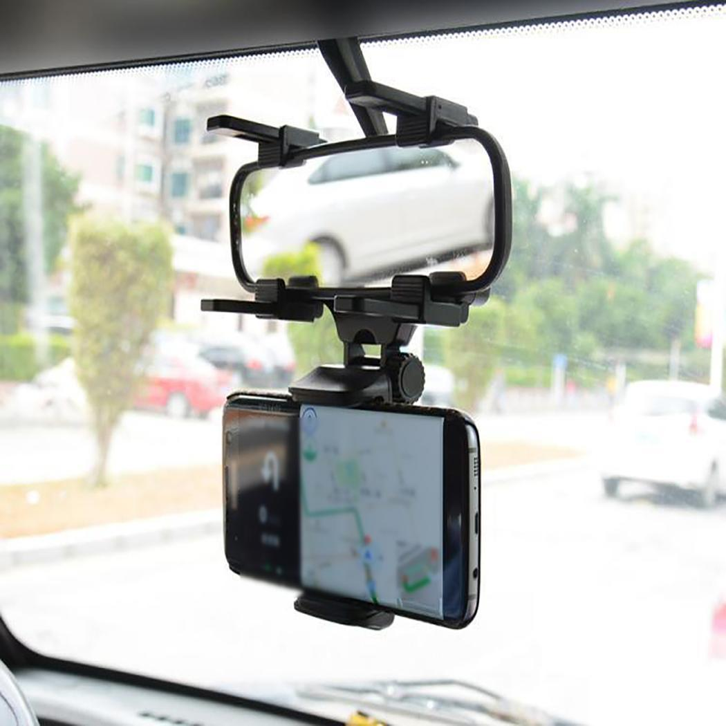 Car Phone Holder Car Rearview Mirror Mount Phone Holder 360 Degrees for iPhone Samsung GPS Stand Universal(China)