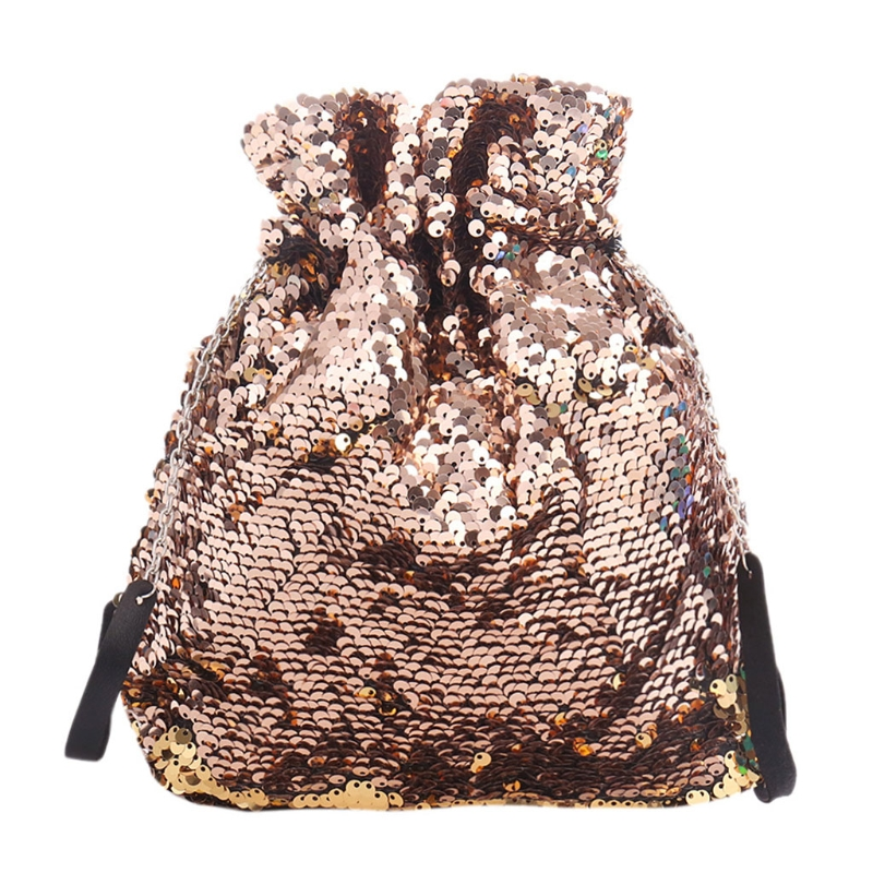 Sequins Glitter Fashion Drawstring Shoulder Bag Dance Bag For Women Girls Teens
