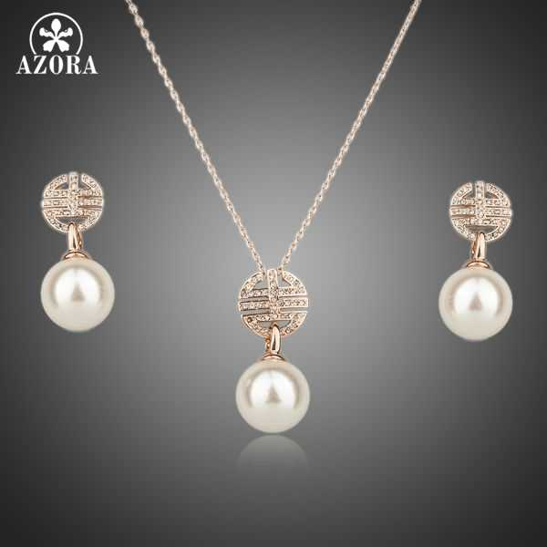 AZORA Rose Gold Color Austria Crystal Paved & Simulated Pearl Necklace & Drop Earrings Jewelry Set TG0080