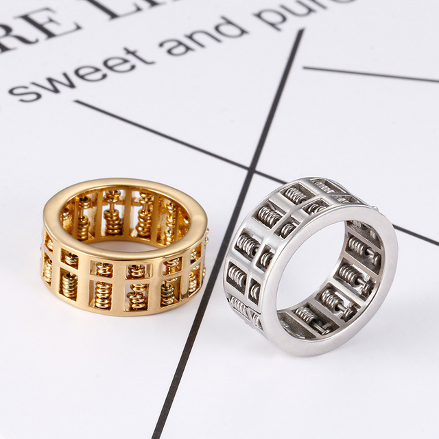 Fashion Abacus Ring For Men Women High Quality Maths Number Jewelry Gold Silver Stainless Steel Charm Rings Gifts