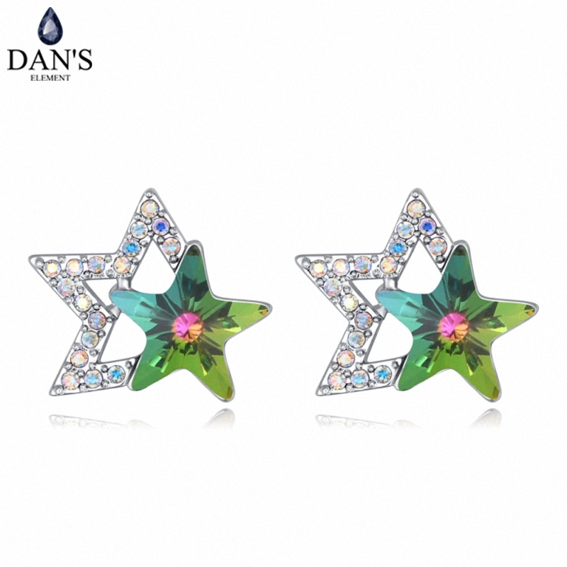 DANS 4 Colors Real Austrian crystals Stud earrings for women Earrings s New Sale Hot Round 127970
