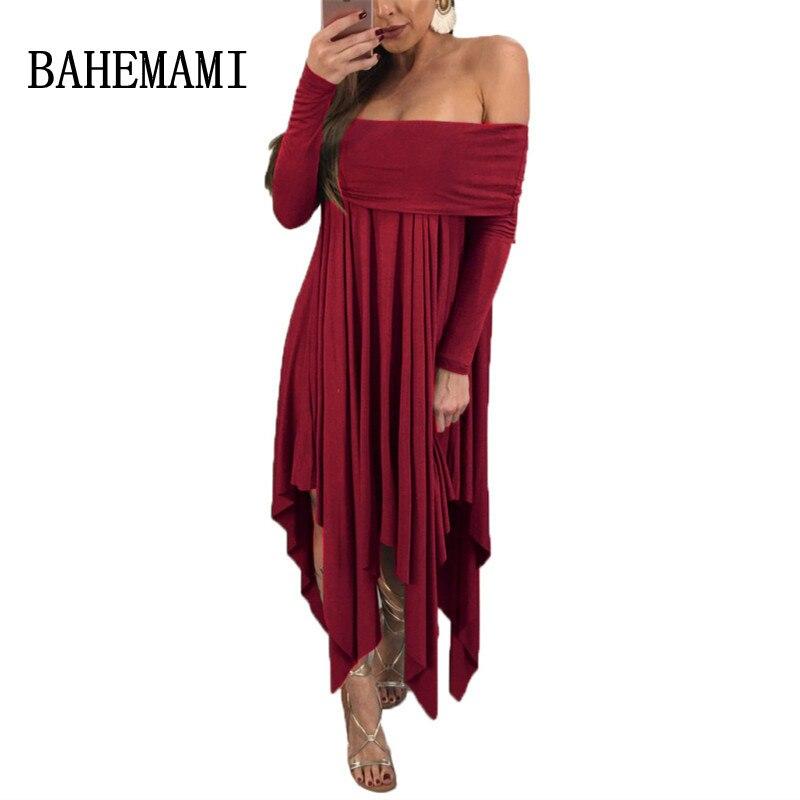 BAHEMAMI new maternity dress 2018 summer shoulderless Pregnancy Women Clothing Long Sleeve Irregular Skirt Pregnant Woman Dress