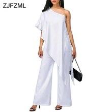 ZJFZML Hot Cotton Ruffle Sexy Irregular Jumpsuit Women White One Shoulder Sleeveless Loose Romper Casual Long Wide Leg Jumpsuit