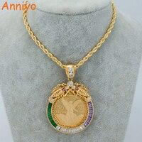 Anniyo Đồng Xu Lớn Necklaces đối với Phụ Nữ/Người Đàn Ông Màu Vàng/Đồng Mexico Peso Với Cubic Zirconia Châu Phi Coin Đồ Trang Sức New #041704