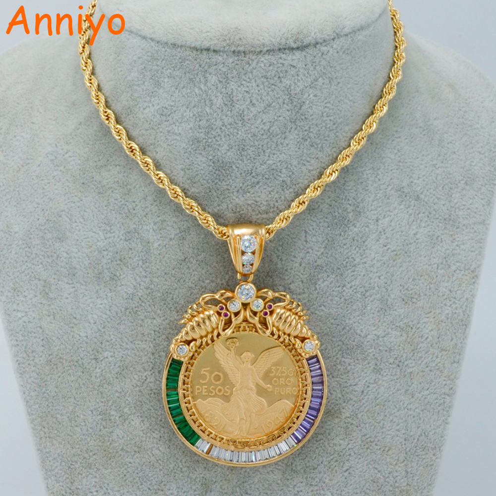 Anniyo Big Coin Necklaces for WomenMen Gold ColorCopper Mexican