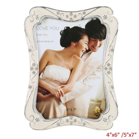 European Vintage Silver White Hand Enameled and Crystals Jeweled Tabletop Metal Photo Frame for 4x6,5x7 inches Two Ways Pictures