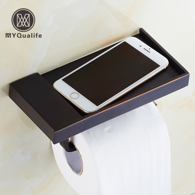 Free Shipping Black Bronze Toilet Roll Paper Holder with Mobile Phone Rack Wall Mounted Roll Paper Rod luxury golden color toilet paper holder wall mounted roll toilet paper rack with cover bathroom accessories free shipping 3308