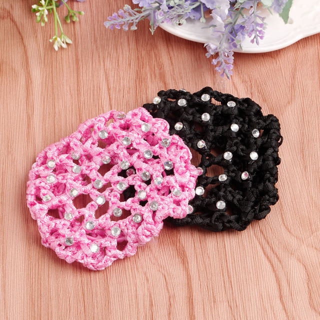 Women Girls Rhinestone Bun Cover Crochet Cover Snood Pink Hair Net