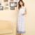 Frete grátis cinta Spaghetti Sleepshirts longas royal plus size impressão 100% algodão maternidade camisola vestido cheio sexy sleepwear