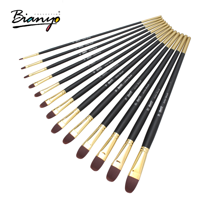 Bianyo 12Pcs Long Handle Artist Nylon Hair Different shapes Paint Brush Set For Acrylic Watercolor Painting Drawing Art Supplies 14pcs different shape acrylic oil painting brush suit wooden handle brushes drawing tool paint pen with bag art supplies
