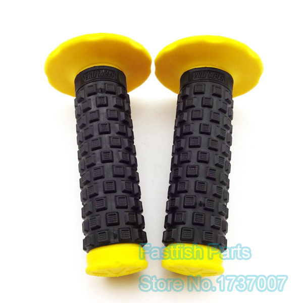 "Yellow Hand Grips MX Motorbike Dirt//Pit Quad Bike ATV Handle bars 22mm 7//8/"" Soft"