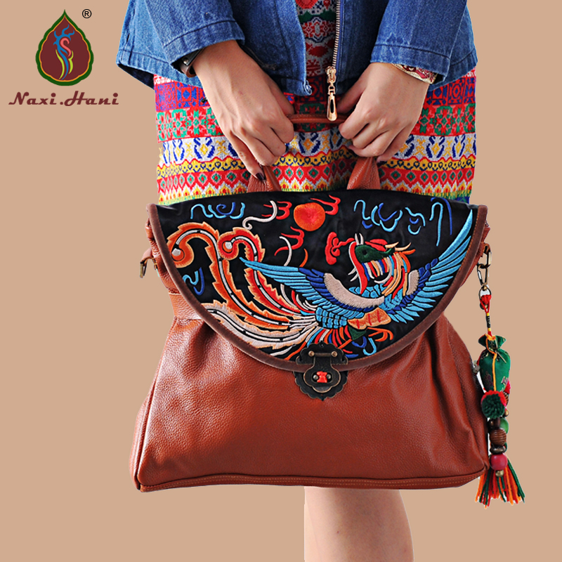 Online sales Ethnic style Embroidery Cow leather Women handbag Fashion Vintage Brown genuine leather shoulder messenger bags