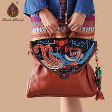Online sales Ethnic style Embroidery Cow leather Women handbag Fashion Vintage Brown genuine leather shoulder messenger