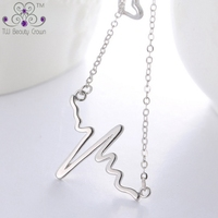 2016 New Genuine 925 Pure Sterling Silver Unique Special Heart Beat Design Pendant Necklace For Woman