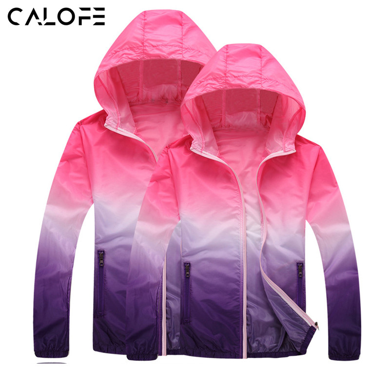 CALOFE Waterproof Waterproof Windproof מעילים לנשים גברים רזה עור ספורט מעיל קפוצ 'ון מגן גשם יבש קצר J30