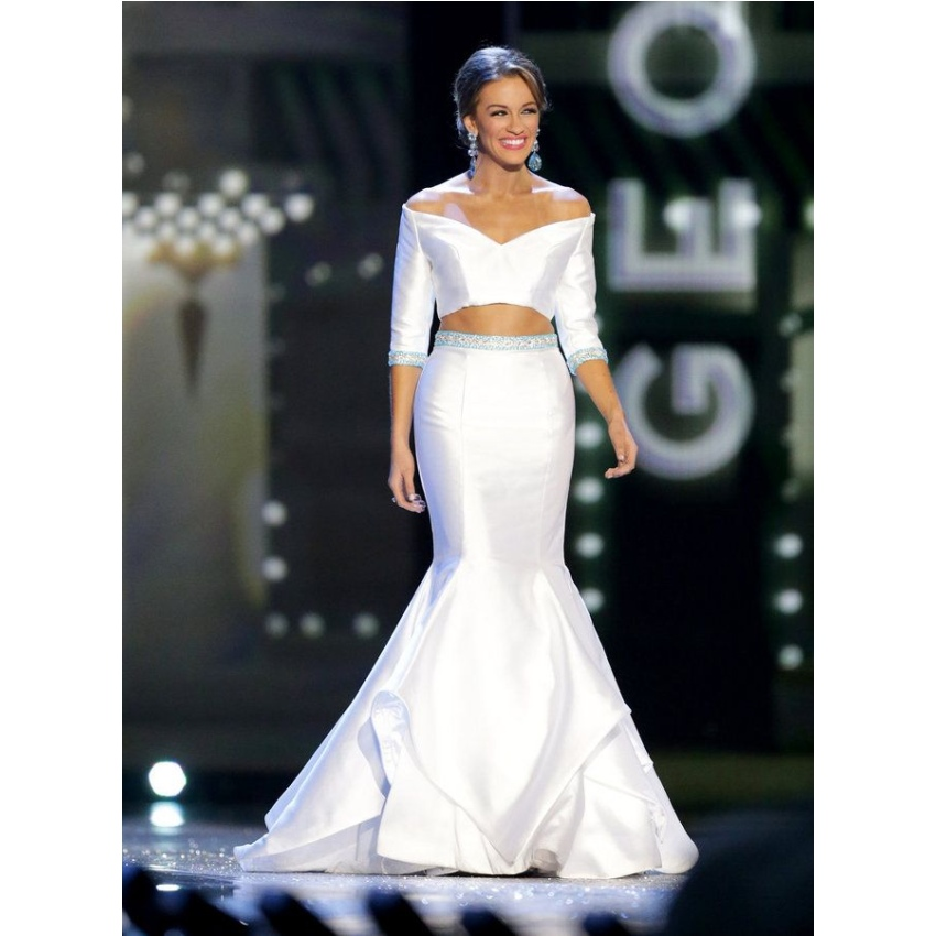 Miss America 2016 Two pieces evening dress beaded crystal mermaid ...