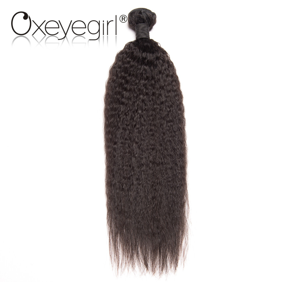 Oxeye girl Peruvian Human Hair Bundles 100g/Piece Kinky Straight Hair Weaving Natural Color 100% Remy Hair Bundles
