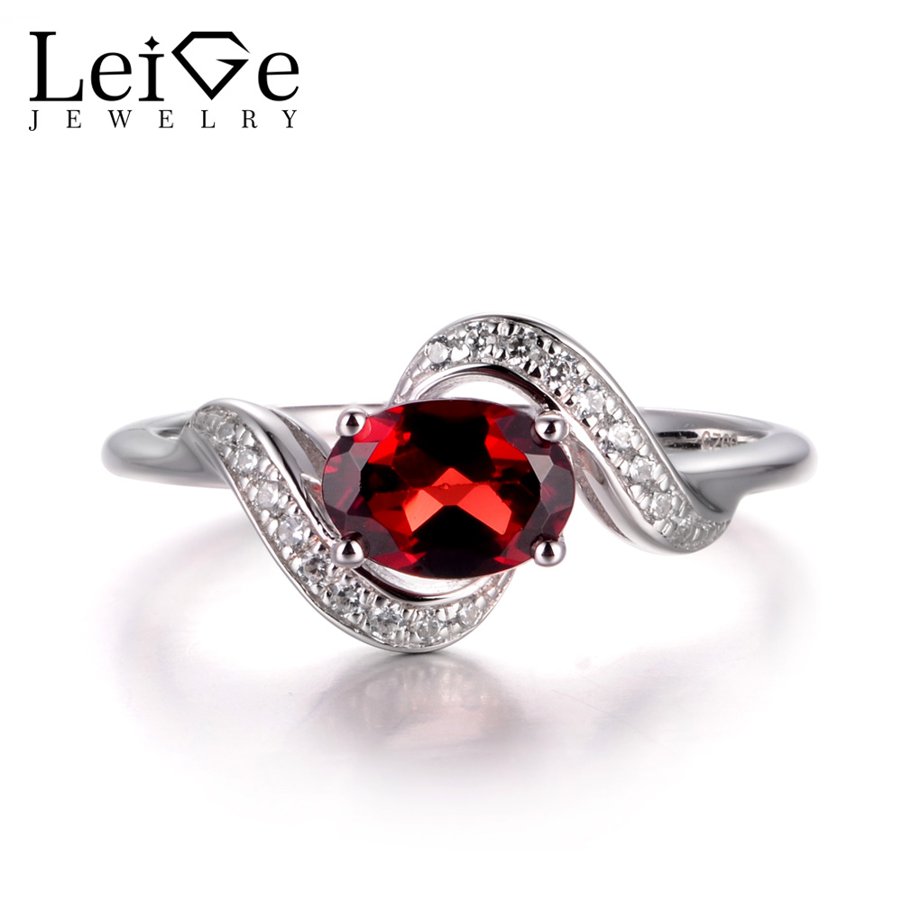 LeiGe Jewelry Natural Garnet Engagement Rings January Birthstone Rings Oval Cut Red Gems Rings 925 Sterling