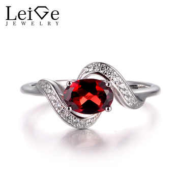 LeiGe Jewelry Natural Garnet Engagement Rings January Birthstone Rings Oval Cut Red Gems Rings 925 Sterling Silver Vintage Rings - DISCOUNT ITEM  0% OFF All Category