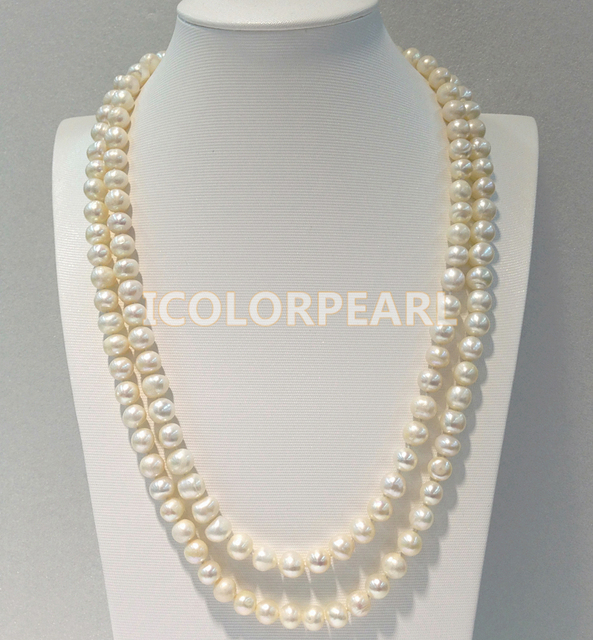 130CM/ 9-10MM Potato Shaped White Freshwater Pearl Sweater Necklace.Classic Pearl Jewelry For Parties!