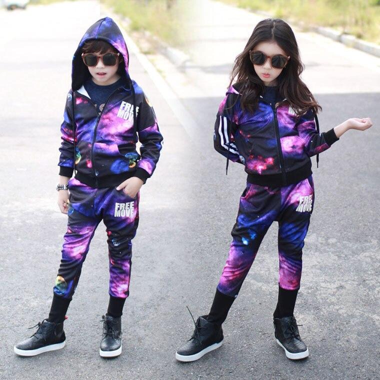 ФОТО Spring 2016 Boys Girls Unisex Clothes Set Fashion starry sky Print Zipper Coat Pants Sportsuit Set Cool Tracksuit Clothing Set