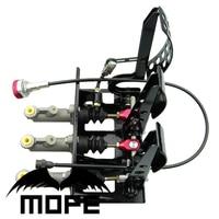 0.75 Master Cylinder Racing Car Brake Pedal Box Kit Hydraulic Pedal Box Clutch Brake Bias Floor Mounted with 3 plastic oil tank