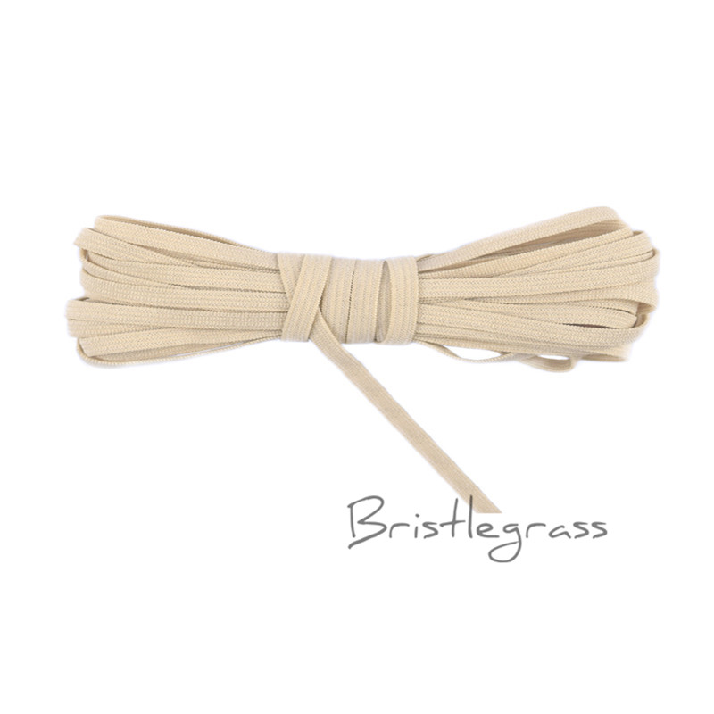 BRISTLEGRASS 5 Yard 4mm Tan Solid Color Skinny Elastics Spandex Band Kid Hairband Headband Hair Tie Lace Trim DIY Sewing Notions