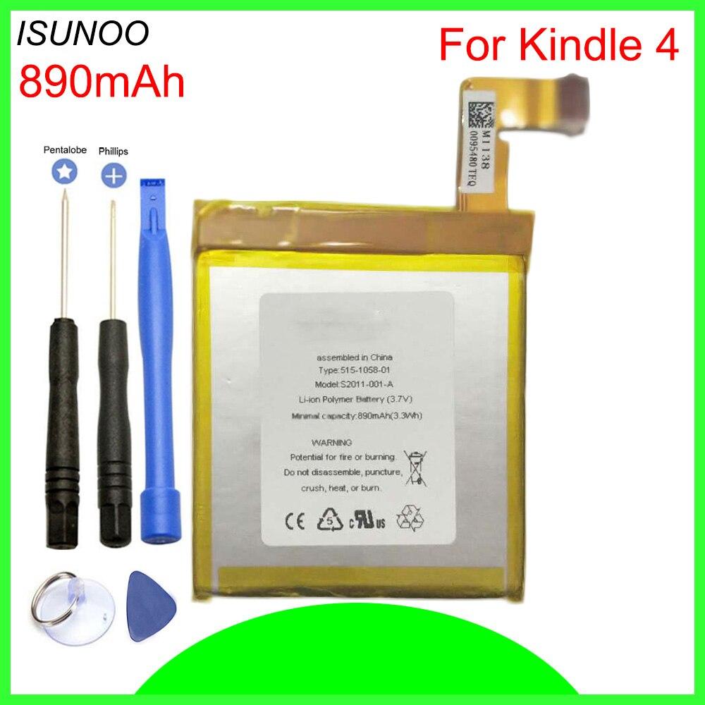 ISUNOO 890 mah Batterie Für Amazon Kindle 4 5 6 D01100 515-1058-01 MC-265360 S2011-001-S Batterie Mit werkzeuge