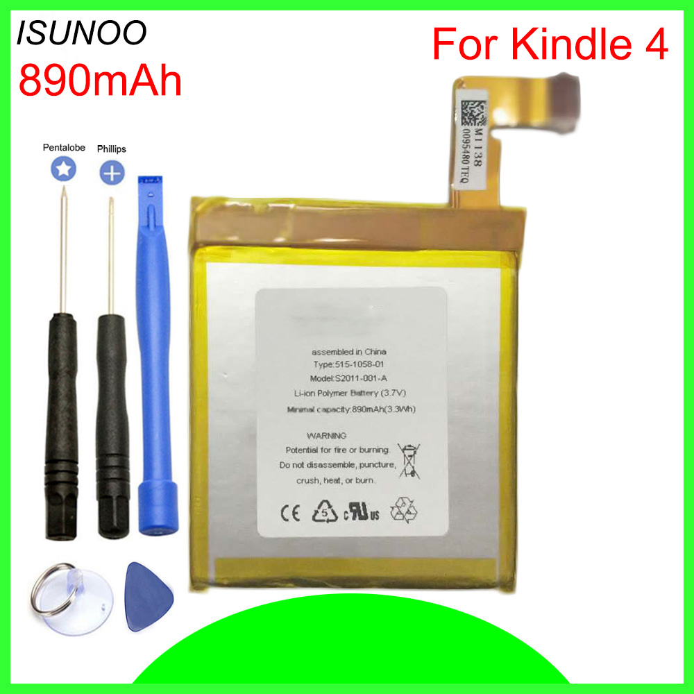 ISUNOO 890mAh Battery For Amazon Kindle 4 5 6 <font><b>D01100</b></font> 515-1058-01 MC-265360 S2011-001-S Battery With Tools image