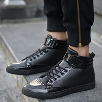 2017 Brand Men Shoes High Top Casual Shoes Metal Decoration Flat Shoes Male Hip Hop Shoes Zapatillas Deportivas Hombre XK102402