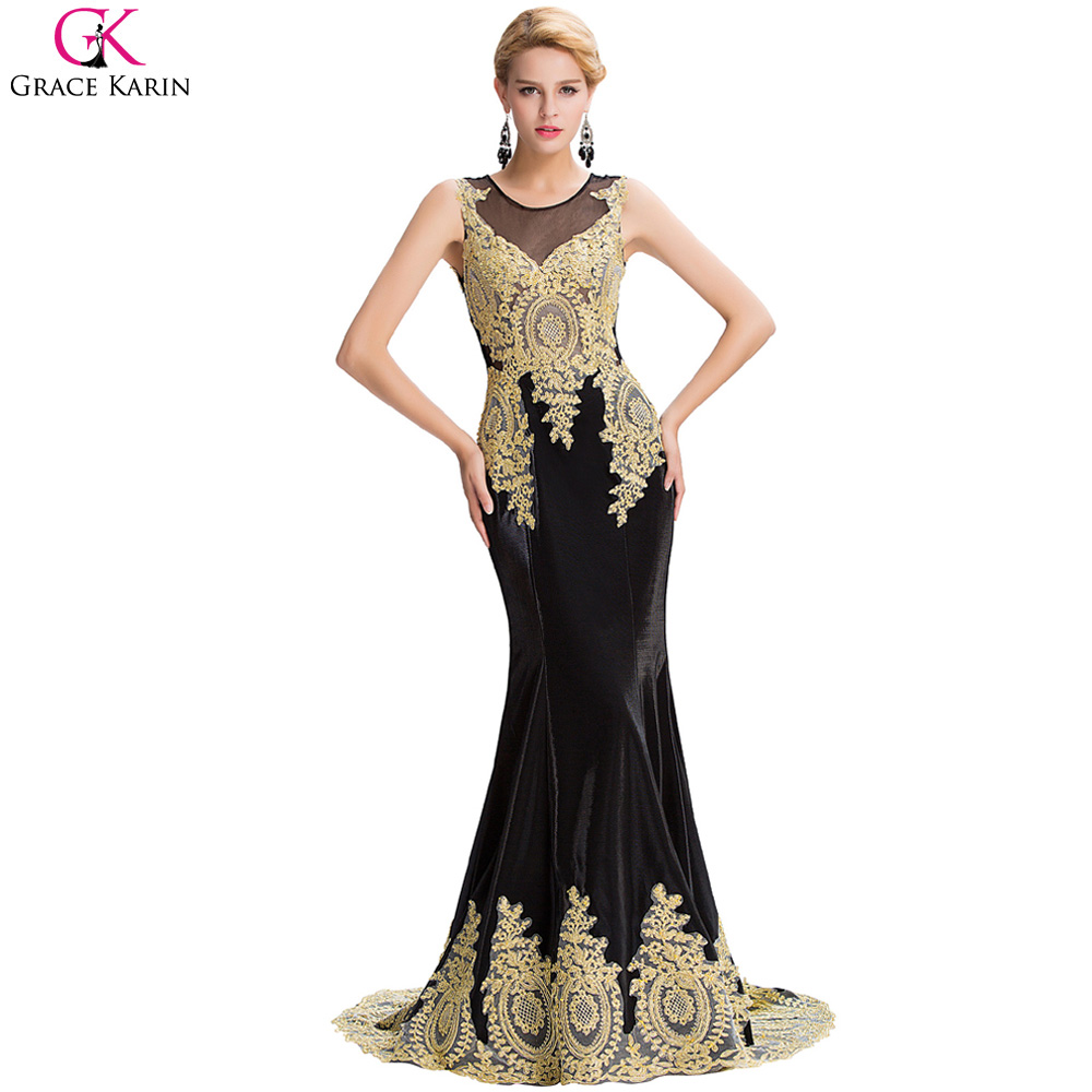 Black dress gold lace - Dubai Arabic Mermaid Evening Dresses Gold Lace