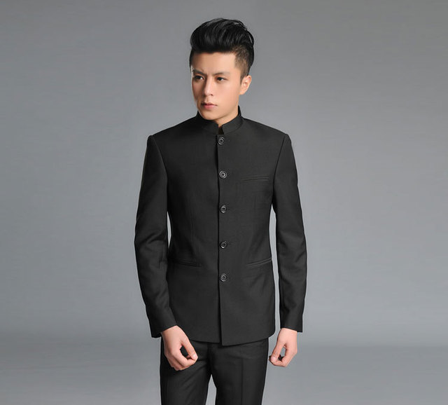 Mens Suits Zhongshan Suit Korean Business Casual Wedding Dress Embroidered Dragon