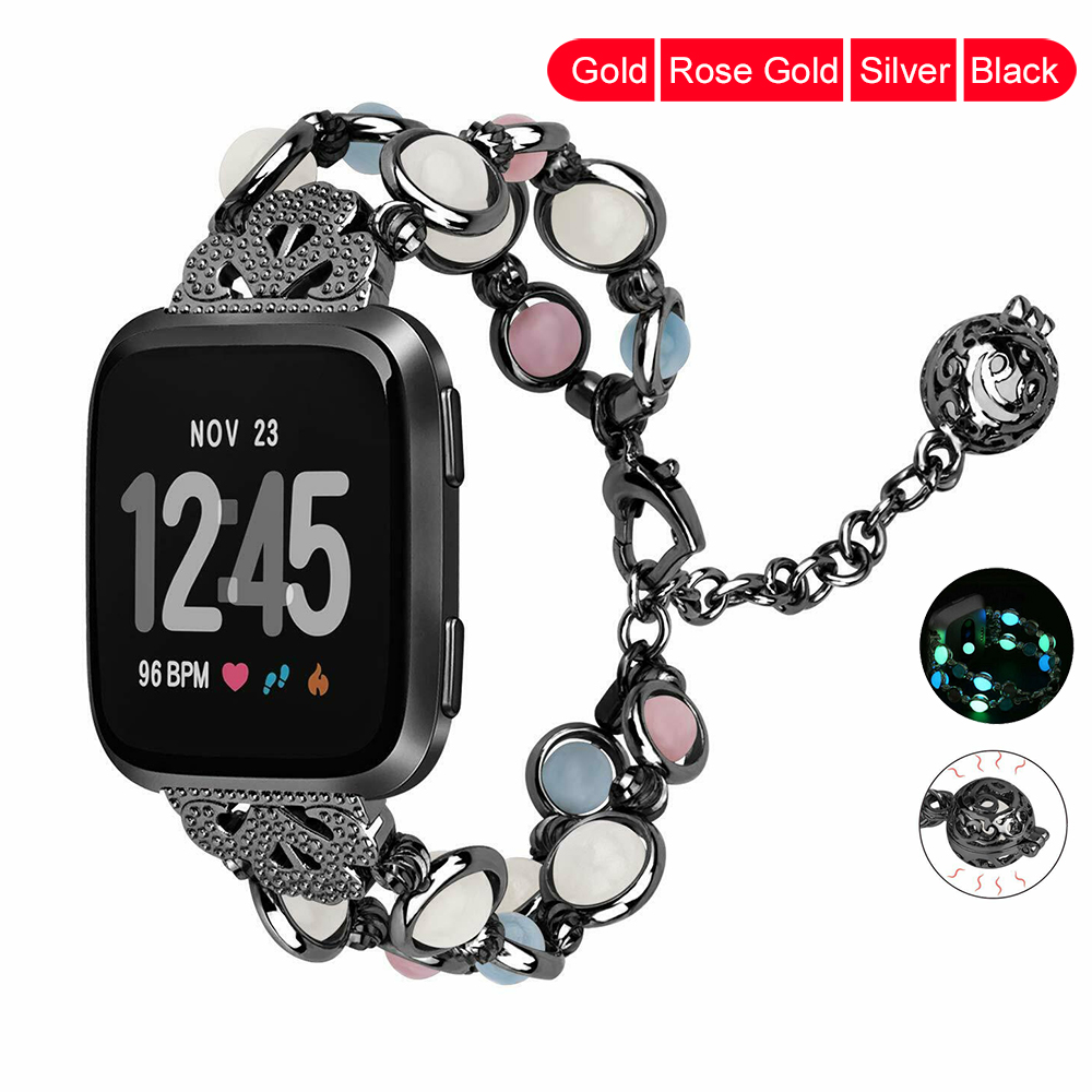 Essidi Luminous Smart Bracelet Strap For Fitbit Versa Fitness Watch Band Loop Beads Stainless Steel Wrist Loop For Fitbit Versa