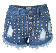 Summer Style Riveted Short Women Distressed Denim Shorts 2016 New Arrivals High Waist Hot Short Free Shipping