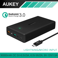 AUKEY Quick Charge 3 0 30000mAh Power Bank Dual USB Output Mobile Portable Charger External Battery