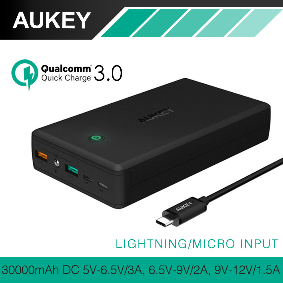 AUKEY <font><b>Quick</b></font> <font><b>Charge</b></font> <font><b>3</b></font>. <font><b>0</b></font> 30000mAh Power Bank USB Mobile Portable Charger External <font><b>Battery</b></font> for Samsung mi Bank with Charging Cable